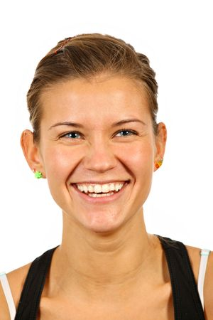 nice happy woman face portrait over white background Stock Photo - 5974752