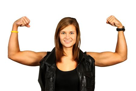 young very strong woman with muscles over white Stock Photo - 6786233
