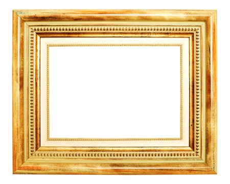 Old gold frame over white background Stock Photo - 7784316