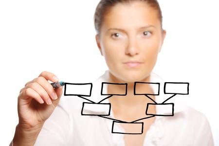 femme dessin: Une image d'une jeune femme d'affaires tirant un tableau sur fond blanc