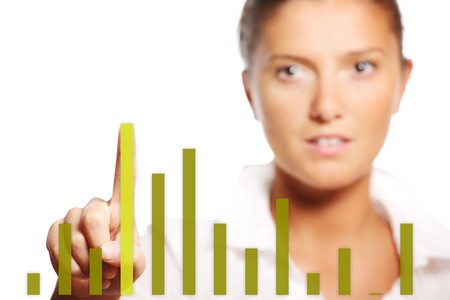 A picture of a young pretty businesswoman touching the graph over white background