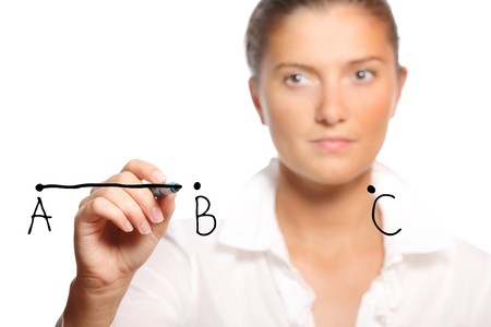 Young businesswoman drawing a line over white background a lot of space for text Stock Photo - 8082994