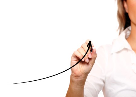 A picture of a businesswoman with an arrow going up over white background photo