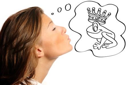 amphibian: girl, woman, beautiful, female, pretty, beauty, charm, prince, frog, love, feelings, white, dream, cloud, thinking, caucasian, crown, illustration, happy, kissing, kiss, face, charming, spell, magic, animal, amphibian