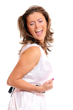 A close-up of a beautiful successful woman expressing her joy Stock Photo - 8164864