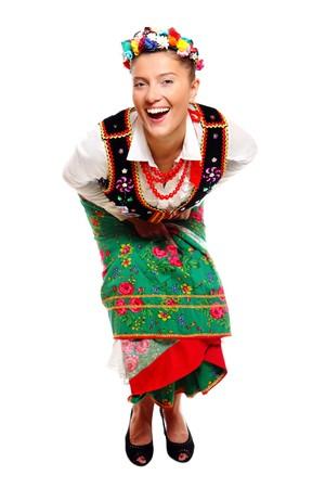 Un portrait d'une belle fille polonaise en tenue traditionnelle sur fond blanc Banque d'images - 8165724