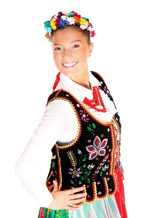 A portrait of a Polish traditional dancer over white background photo