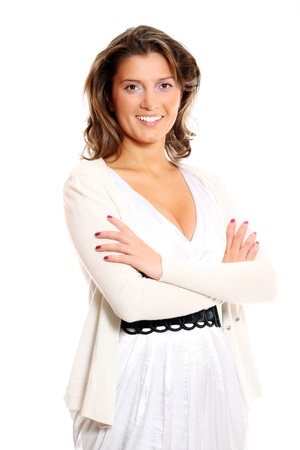 A portrait of a pretty businesswoman standing against white background Stock Photo - 8345351