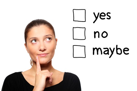 A portrait of a young woman trying to make a decision over white background Stock Photo - 8407123
