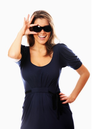 A portrait of a young sexy woman posing over white background photo