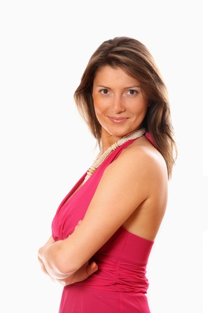 A portrait of pretty confident woman standing over white background photo