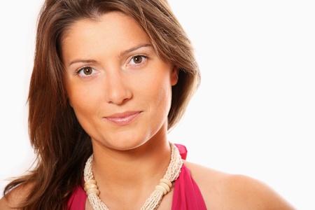 A portrait of a pretty businesswoman over white background photo