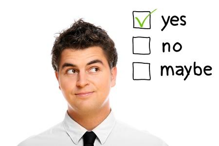 decission: A portrait of a young businessman making decission Stock Photo