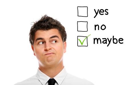 decission: A portrait of a young businessman making decission over white background