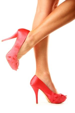 A picture of sexy pink peeptoe shoes presented over white background photo