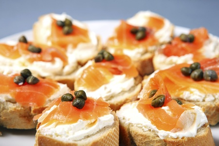 A close-up of traditional jewish sandwiches with cream cheese, salmon and capparis Stock Photo - 8817117