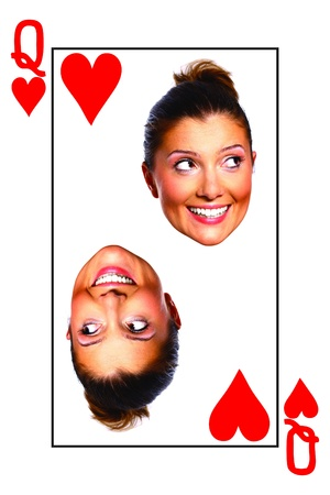 queen of hearts: A picture of a queen card with a real face over white background