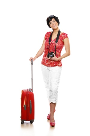A picture of a happy woman with a red suitcase and camera going on holidays Stock Photo - 8905352