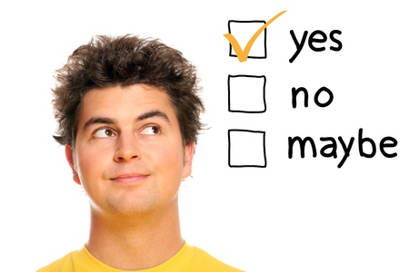 A portrait of a young man making decisions over white background Stock Photo - 8953400