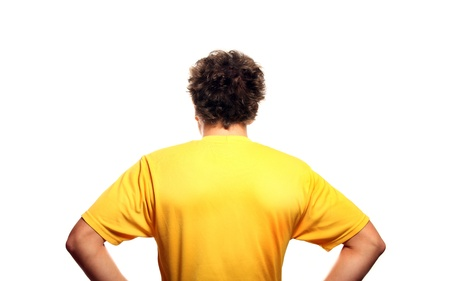 head and  back: A picture of the back of a young man standing against white background Stock Photo