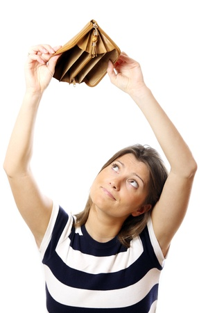 A picture of a cute girl standing against white background with an empty wallet Stock Photo - 9046677