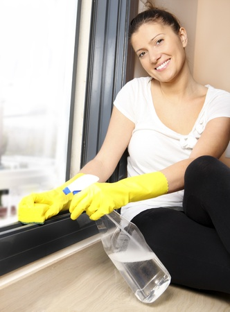 A picture of a young housewife cleaning a window at home Stock Photo - 9112867
