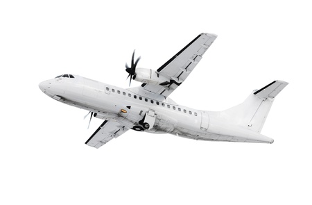 A picture of a white plane takinf off  landing over white background photo