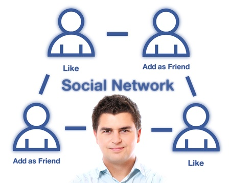 A portrait of a handsome man and social network structure over white background photo