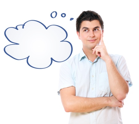A portrait of a young handsome man lost in his thoughts over white background photo
