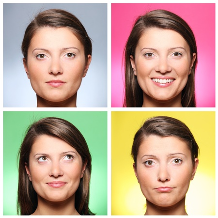 A set of four portraits of a pretty young woman expressing different emotions over colourful backgrounds photo
