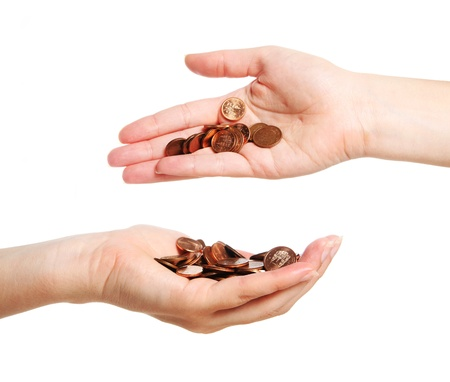money transfer: A picture of two hands full of coins over white background
