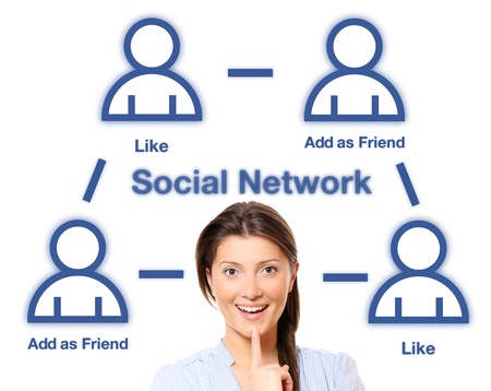 A portrait of a pretty woman and social network structure over white background Stock Photo - 9583886