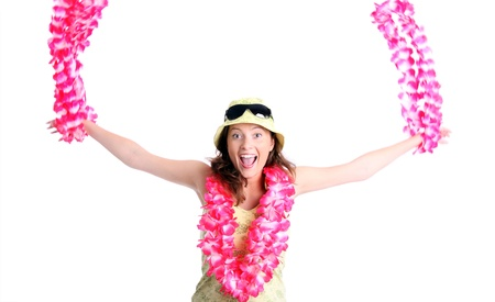 A picture of a happy woman dancing with hawaiian necklaces over white background photo