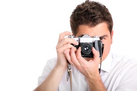 Una imagen de un hombre tratando de tomar una fotografía sobre fondo blanco Foto de archivo - 9780787