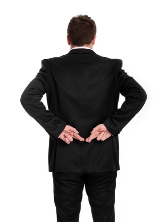 A picture of a man's back with his fingers crossed over white background Stock Photo - 9780849