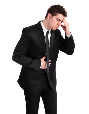 stomach flu: A picture of a young businessman having flu symptoms over white background