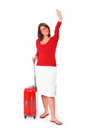 A picture of an attractive woman in her twenties waving hand over white background Stock Photo - 9886818