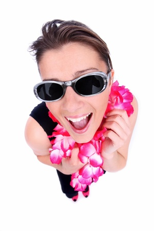 A picture of a happy woman in a hawaiian necklaces ready for holidays over white background photo