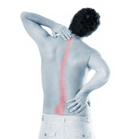 man back pain: A picture of a young man with a backache suffering over white background