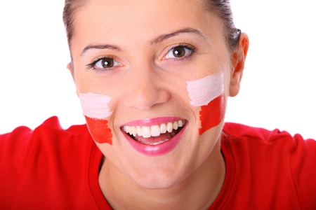 polish flag: A picture of a happy Polish female fan cheering against white background