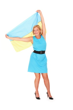 A picture of a happy Ukrainian female fan cheering against white background Stock Photo - 10057506