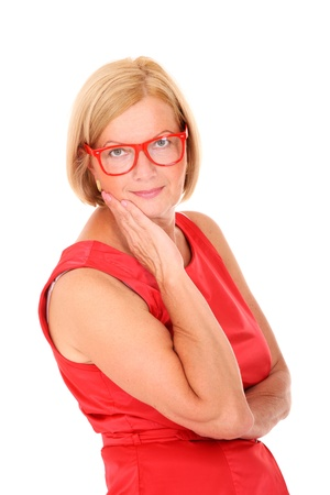 A portrait of a mature woman smiling over white background Stock Photo - 10057569