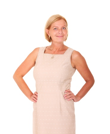 A portrait of a beautiful confident woman smiling over white background photo