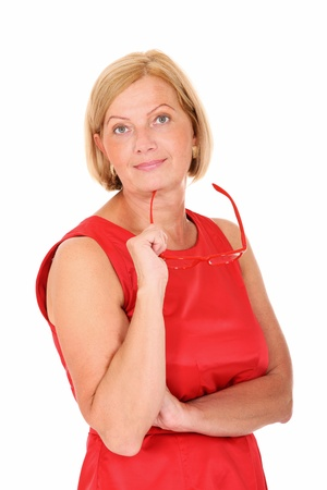 senior business: A portrait of a mature elegant woman smiling over white background Stock Photo