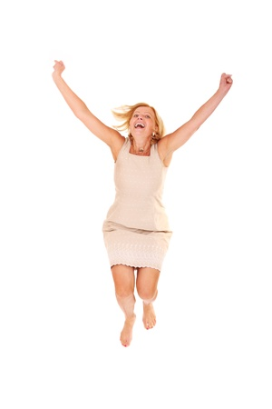 running camel: A portrait of a happy woman jumping over white background
