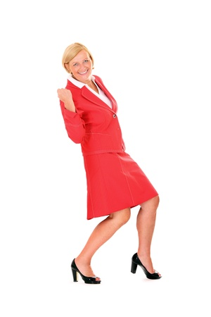gorgeous businesswoman: A picture of a mature beautiful and successful businesswoman cheering over white background