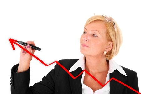 A picture of a mature businesswoman with an arrow going up over white background Stock Photo - 10112624