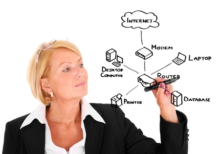 A picture of a young businesswoman drawing a diagram connected with internet and computer photo