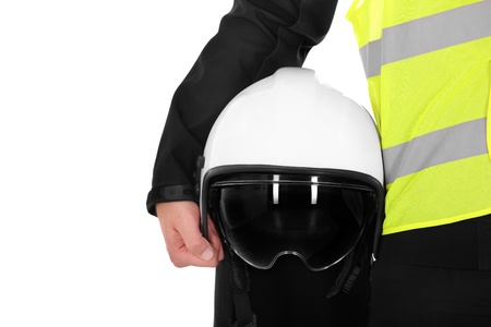 A picture of a firefighter and his helmet against white background photo