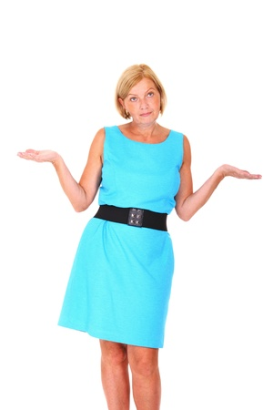 decission: A picture of an attractive mature woman trying to make a decission over white background Stock Photo